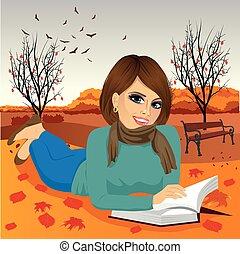 brunette, park, efterår, kvinde, gorgeous, læsning bog