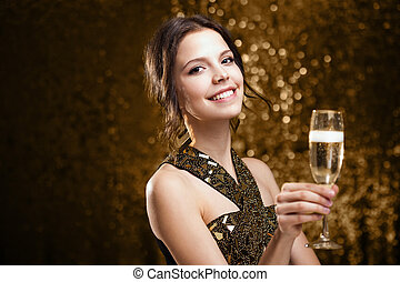 Brunette party girl. - Portrait of a gorgeous young brunette...