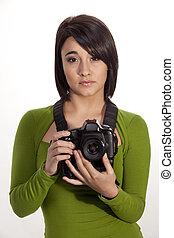 brunette, photographe, jeune, arrière-plan., appareil photo, blanc