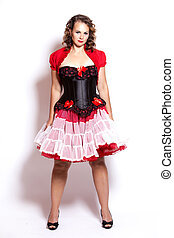 brunette pinup style - beautiful woman wearing red and black...