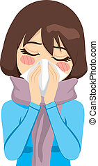 Beautiful woman wearing a warm scarf suffering influenza and runny nose blowing her nose with a handkerchief