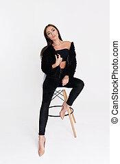 brunette, séance, barre, femme, stool., sexy