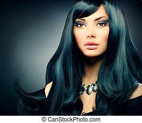 brunette, sain, maquillage, longs cheveux, girl., noir, luxe, vacances
