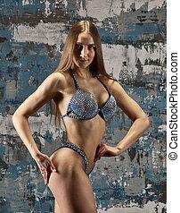 Brunette sexy fitness girl