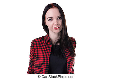 Brunette smiling woman in plaid shirt