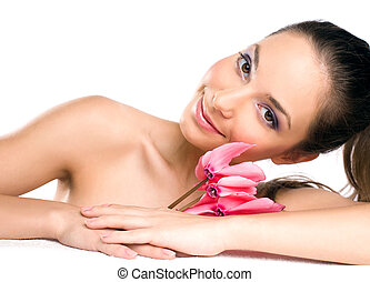 Brunette spa beauty.