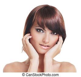 brunette, sur, jeune, isolé, fond, sexy, blanc