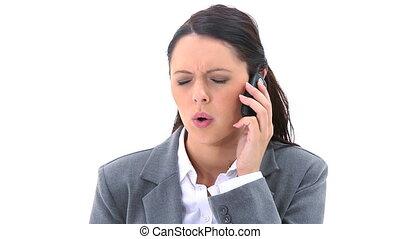 brunette, téléphone, conversation