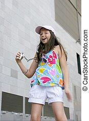 Brunette teen little girl dancing mp3