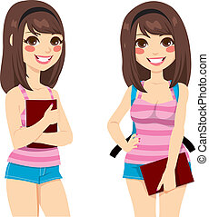 Brunette Teenager Student - Cute brunette teenager with pink...