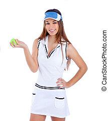brunette tennis girl white dress and sun visor cap - ...