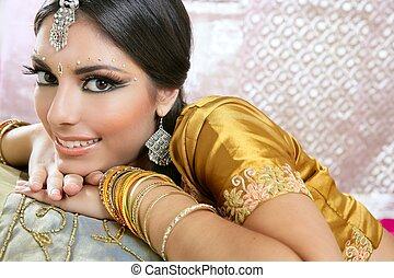 brunette, traditionnel, indien, style, beau, mode