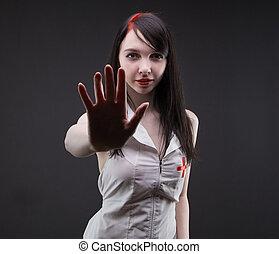 brunette, verpleegkundige, het tonen, palm