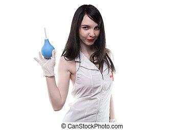 brunette, verpleegkundige, met, medisch, enema