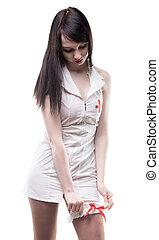 brunette, verpleegkundige, vervelend, garter