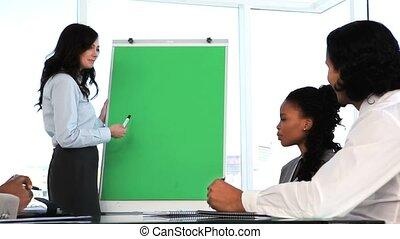brunette, vervaardiging, presentatie, businesswoman