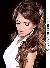 brunette, vrouw, mode, makeup., portrait., hair., lang, glamour, mooi