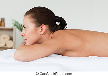 Brunette waiting for a massage