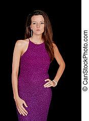brunette wearing a purple dress