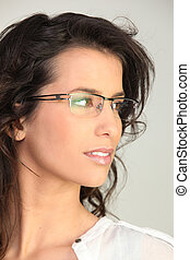 brunette wearing glasses