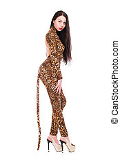 Brunette wearing like a leopard