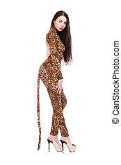 Brunette wearing like a leopard