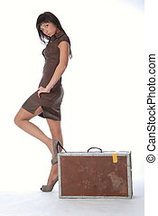 Brunette with a suitcase