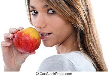 brunette with apple