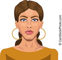 Brunette with blue eyes illustration vector on white background