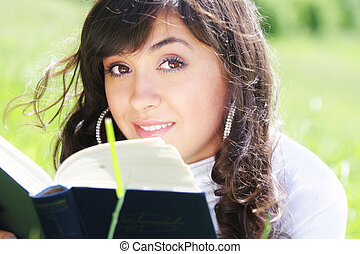 Brunette with book