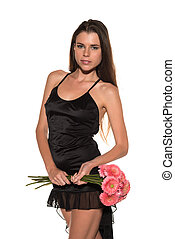 Brunette with bouquet