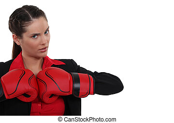 brunette with boxing gloves