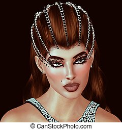 Brunette with diamonds and black