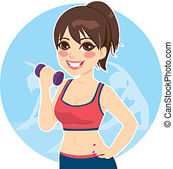 Brunette With Dumbbell - Active brunette practicing fitness...