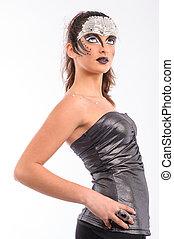 brunette with futuristic makeup