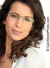 Brunette with glasses
