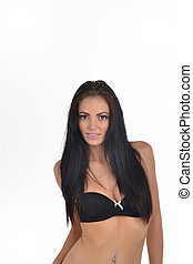 brunette with long hair  in bra