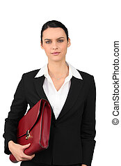 Brunette with red briefcase
