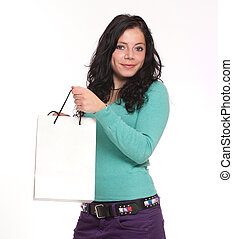Brunette with shopping bag