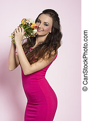 Brunette with spring flowers