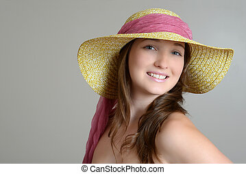 brunette with straw hat