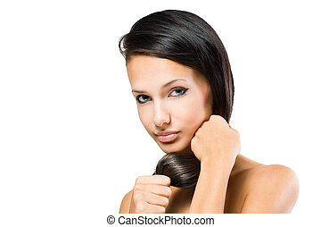 Brunette with strong healthy hair. - Portrait of a brunette...