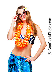 Brunette with sunglasses wearing a neck flower necklace for the Hawaiian party isolated