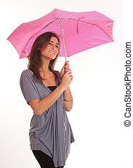 Brunette with umbrella