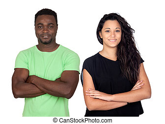 Brunette woman and attractive african men