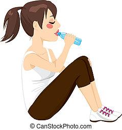 Brunette Woman Drinking