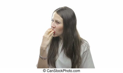 Brunette woman eating apple, eight video from the series