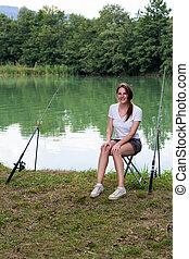 Woman Fishing at a lake