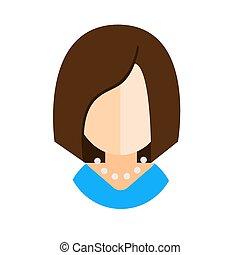 brunette woman flat icon avatar