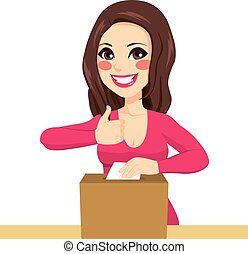 Brunette Woman Happy Voting - Young woman happy voting on ...
